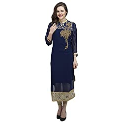 Women's Stitched Blue Georgette Kurti with stone embroidery on neck. (15DC07-Blue-44)