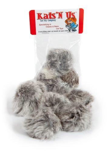 Image Real Rabbit Fur Pom Pom Cat Toy - 5 Pak