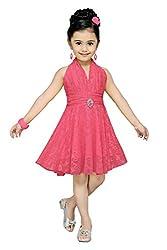 Aarika Girl's Self Design Party Wear Net Frock (6516-GAJRI_28_7-8 Years)
