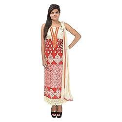Kashish Creations Women Resham Red & White Semi Stitched Salwar Suit