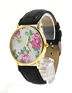 Jonsen Talk Geneva Leather Rose Flower Watch (Black)