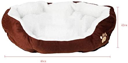 Kobwa(TM) Coffee Paw Print Comfortable Self Warming Pets Dog Cats Puppy Kitten Nest Pad Cute Soft Fleece Bed M With Keyring