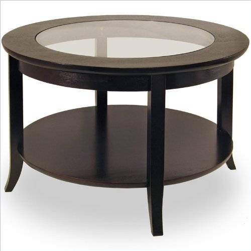 Winsome Genoa Round Wood Coffee Table with Glass Top
