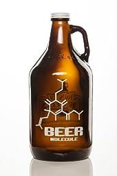 Beer Molecule 64oz Amber Glass Craft Beer Growler