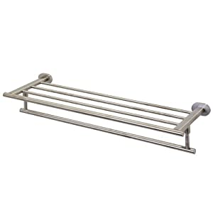 "VIGO VGAC005BN Ovando 24"" Round Design Hotel Style Rack and Towel Bar in Brushed Nickel"