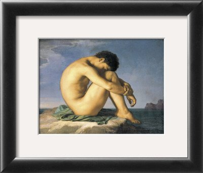 Young Male Nude, 1855 Framed Art Poster Print by Hippolyte Flandrin, 13x11