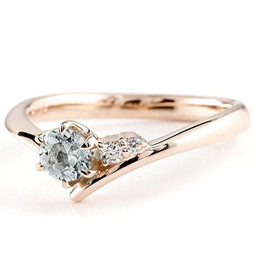 [アトラス] Atrus リング エンゲージリング ピンクゴールド 10金 指輪 アクアマリン ダイヤモンド 一粒 大粒 天然石 誕生石のエンゲージリング (3月の誕生石アクアマリン) ファッションリング 5号