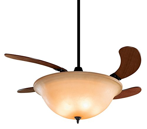 Fanimation FP810AM Air Shadow Amber Glass Ceiling Fan with 4 Cherry Blades and Amber Glass, Oil Rubbed Bronze Finish (Retractable Blade Ceiling Fan compare prices)