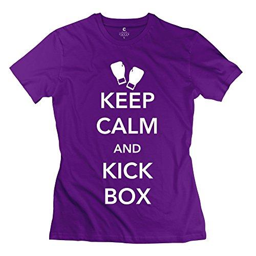 Zhitian Women'S Keep Calm Kickbox T-Shirt - Xl Purple