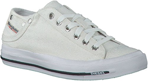 Diesel Exposure iv Low W White Glitter Womens Canvas Trainers-4