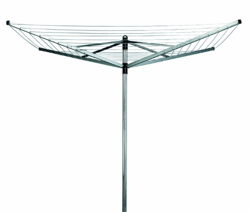 Brabantia Lift-O-Matic Rotary Dryer with 45mm Metal Soil Spear, 40m, 4 arms, Metallic Grey