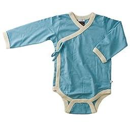Baby Soy Long Sleeve Kimono Bodysuit, color Ocean, Size 0-3 months