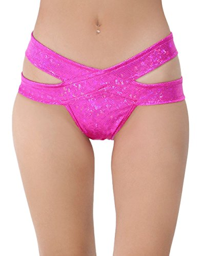 iHeartRaves Hologram Strappy Rave Booty Shorts (Medium/Large, Neon Pink)