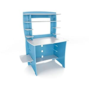 Legare 36-Inch Kids Desk and Hutch, Blue/White