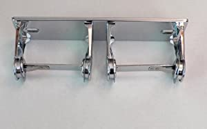 Double Roll Toilet Tissue Dispenser Chrome Plated Steel No. 18 Gauge Vandal Resistant Locking Surface Mounted