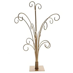 20 quot gold metal ornament display tree holds 15 ornaments amazon co