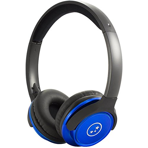 Able Planet SH190 Travelers Choice Stereo Headphones with LINX AUDIO and Volume Control-Blue
