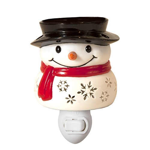 Snowman With Scarf Light Up Snowflake Electric Plug-In Ceramic Stoneware Candle And Oil Warmer