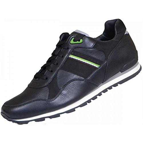 Hugo Boss Schuhe Grün Runcool schwarz Leder Trainer, Schwarz - schwarz - Größe: 45 thumbnail