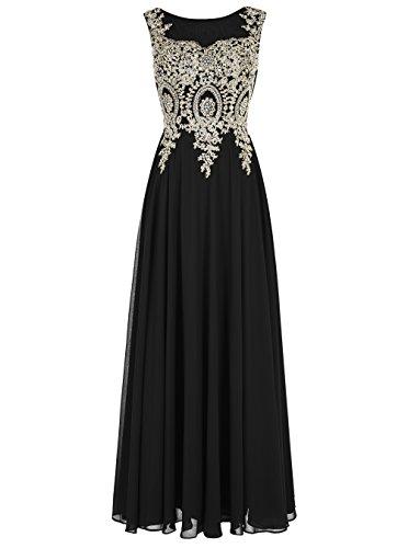 Tideclothes Long Applique Prom Dress See-through Chiffon Evening Dress Black US22
