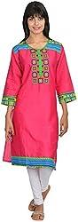 Goodyygoods Women's Cotton Regular Fit Kurti (GG 37, Pink, Large)