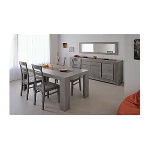 S jour bruges ch ne gris buffet 4p table rectangulaire 4 for Cuisine bruges gris