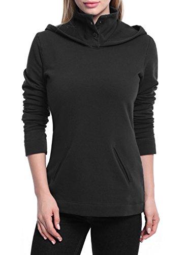 Ninedaily Women Long Sleeve Button Sweater Pocket Hoodie Sweatshirt Black L