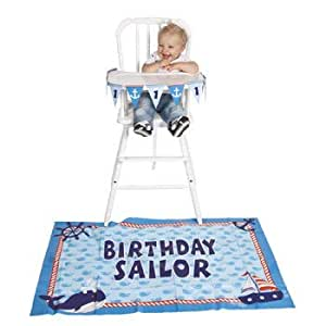 .com: First 1st Birthday Boy Nautical Whale High Chair Decoration ...
