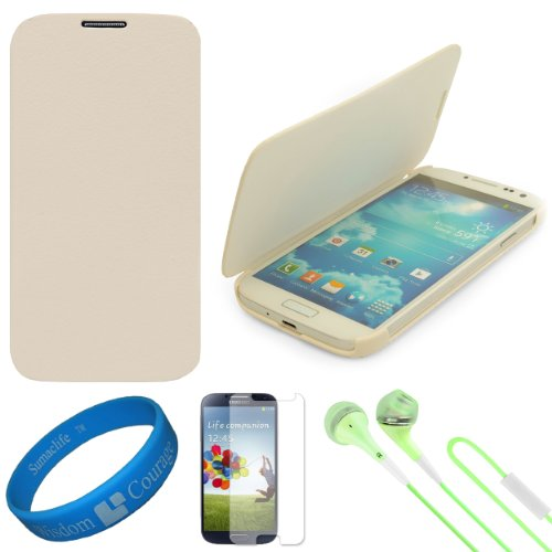 Vg Premium Faux Leather Flip Carrying Case W/ Sleeve Mode Function (White) For Samsung Galaxy S4 / S Iv Android Smart Phones + Clear Anti Glare Screen Protector Strip W/ Cleaning Cloth + Green Vg Stereo Headphones With Windscreen Mic & Silicone Ear Tips +
