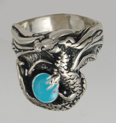 Sterling Silver Dragon Ring With Turquoise , Made in America