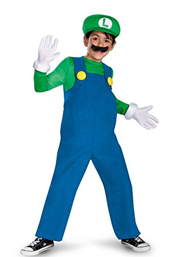 Super Mario Brothers Boys Deluxe Luigi Costume With Hat Mustache & Gloves