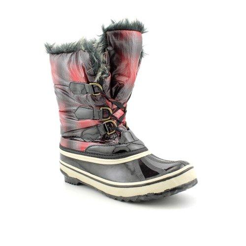 Sporto Women's Winnie Plaid Faux Fur Winter Boots in Black/Red