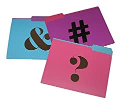 Pink Purple Blue Gold # & ? Signs File Folders (Set of 9)