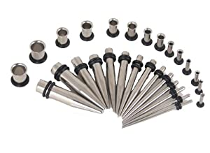 Gauges Kit * ALL GAUGE *(28 Pieces) Tapers Stainless Steel + Plugs Surgical Steel Single Flared Tunnels 12G 10G 8G 6G 4G 2G 0G Ear Tunnel & Taper Stretching Kit -14 Pairs