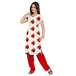 Shopeezo White and Red Colored Poly Cotton Printed Dress Material