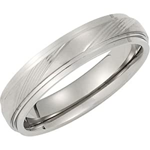 5 mm Titanium Satin and Polished Embossed Band, Size 7