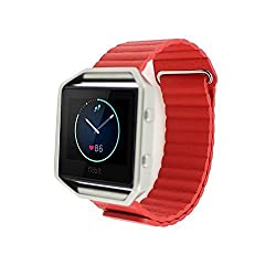 Fitbit Blaze Replacement Band,DAYJOY Genuine Leather Loopwith Magnet Lock Watch Strap Adjustbable Wrist Band for Fitbit Blaze(Red,Large Size)