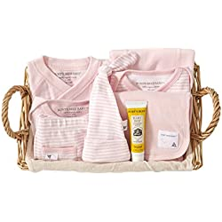 Burts Bees Baby-Girls Organic Take Me Home Stripe Basket, Blossom, 3 Months