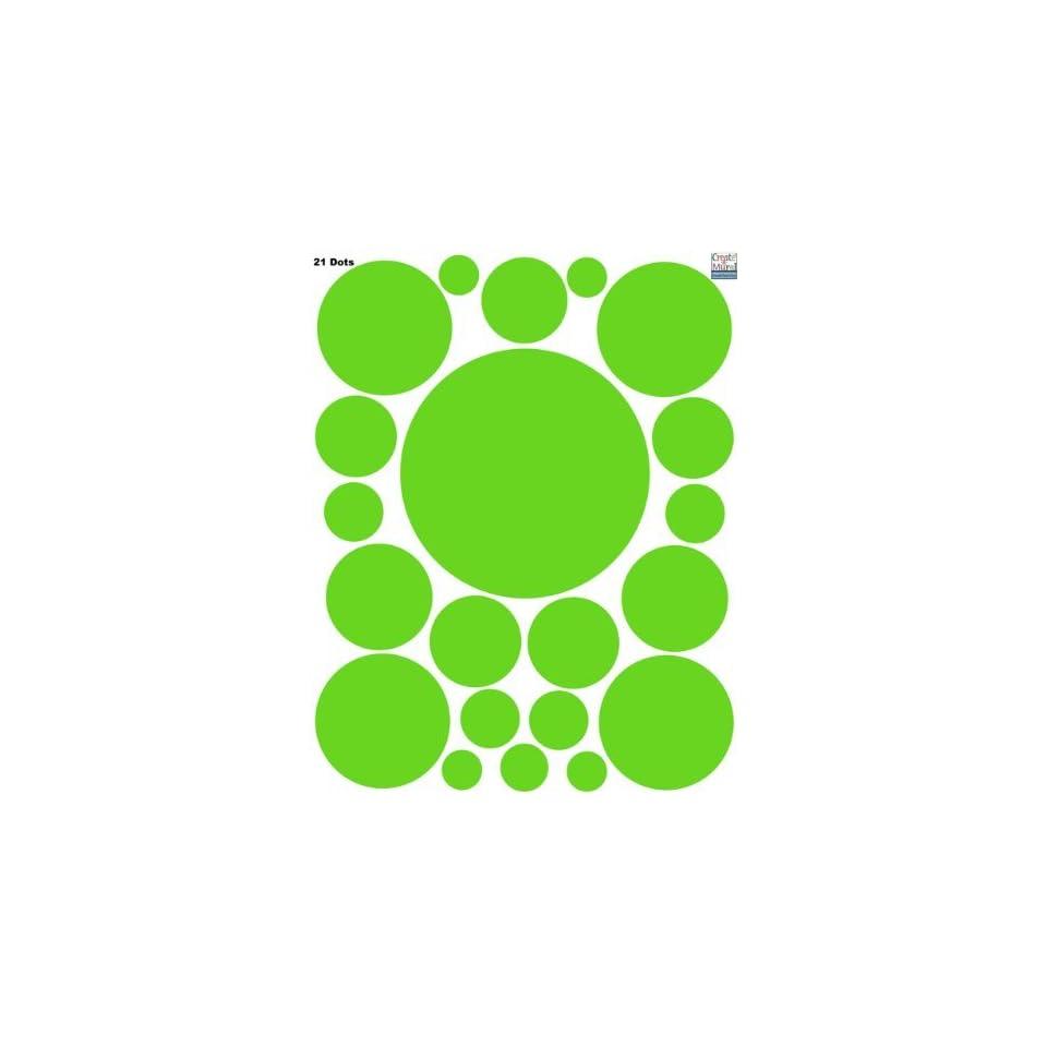 Polka Dot Circle Dots Wall Decals (21) Vinyl Lime Green Wall Dot Stickers