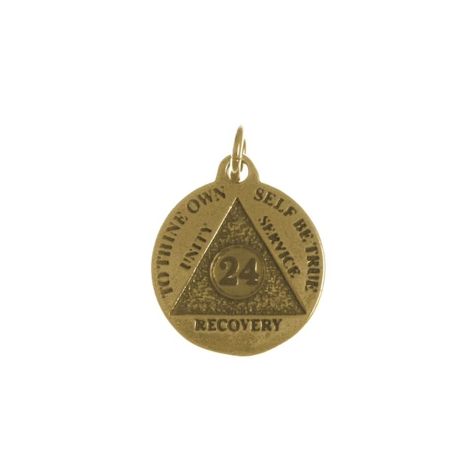 Alcoholics Anonymous Mini Medallion, #892, 24 Hour, 11/16 Wide 15/16 Tall, Antiqued Brass Finish
