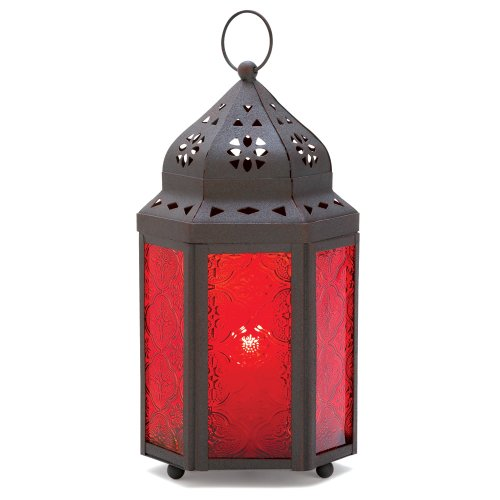 Gifts & Decor Garnet Moroccan Hanging Garden Lantern Candle Holder