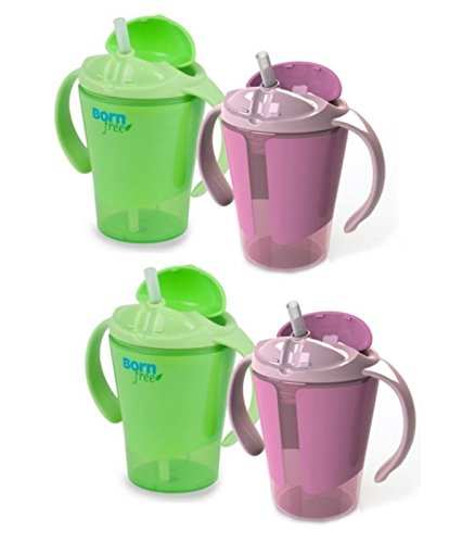 Born Free Grow With Me 6 Ounce Training Straw Cup, 4 Pack - Girl front-781972