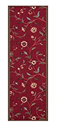 Custom Size RED Floral Leaves Rubber Backed Non-Slip Hallway Stair Runner Rug Carpet 31 inch Wide Choose Your Length 31in X 13ft