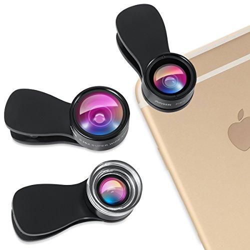 Amir® スマートフォン カメラレンズキット 25xマクロレンズ+0.36 x広角レンズ+180°魚眼レンズ クリップ式 レンズ 3点セット 3in1 iPhone 対応