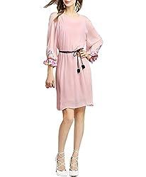 SAI fashion women georgette printed light pink dress