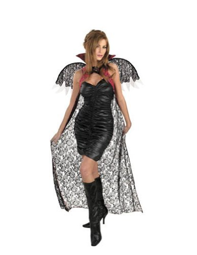 Red Black Lace Cape W Wings Halloween Costume - 1 size