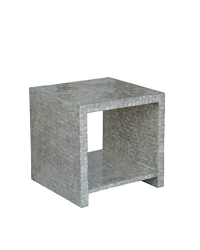 Jeffan Uptown Cube Side Table With Capiz Shelf, Silver Metallic