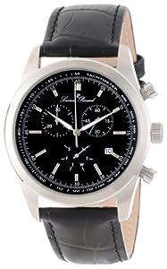Lucien Piccard Men's LP-11570-01 Eiger Chronograph Black Dial Black Leather Watch by Lucien Piccard