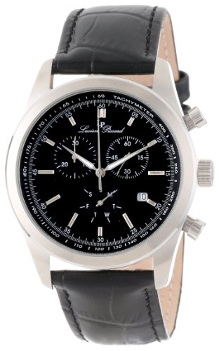 Lucien Piccard Men's LP-11570-01 Eiger Chronograph Black Dial Black Leather Watch