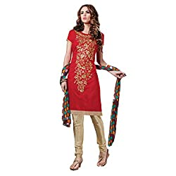 PARISHA Red Embroidered Un Stitched Chudidar Suit 4ASG5610